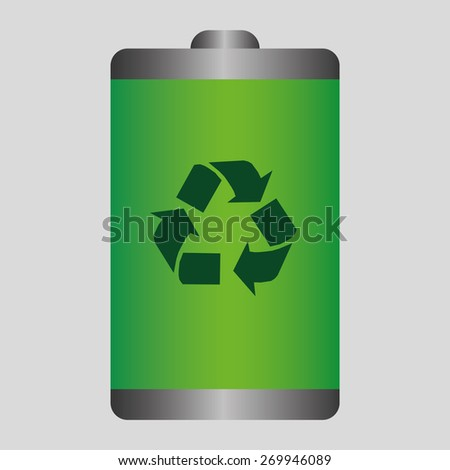 Recycled energy battery icon - stock vector