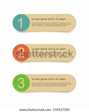 recycled paper label set with infographic steps - stock vector