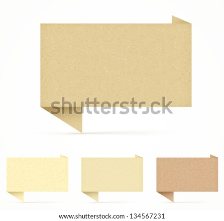 recycled paper origami speech bubble set - stock vector