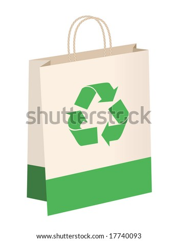 Recycled paper shopping bag with handles has symbol and green color accent bottom.