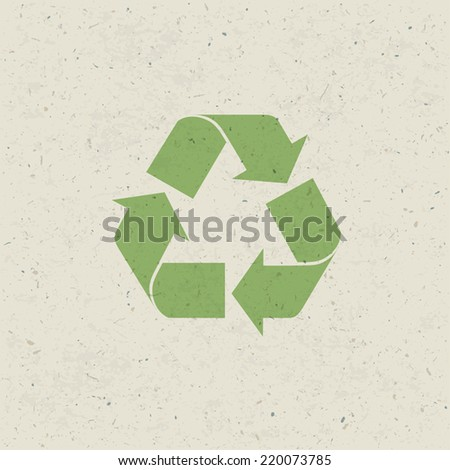 Recycled symbol on paper texture. Design set, Vector - stock vector