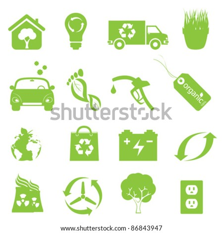 Recycling and clean environment icon set in green - stock vector