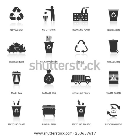 Recycling and garbage icons set. Waste utilization. Vector illustration. - stock vector
