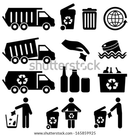 Recycling and trash icons for clean environment - stock vector