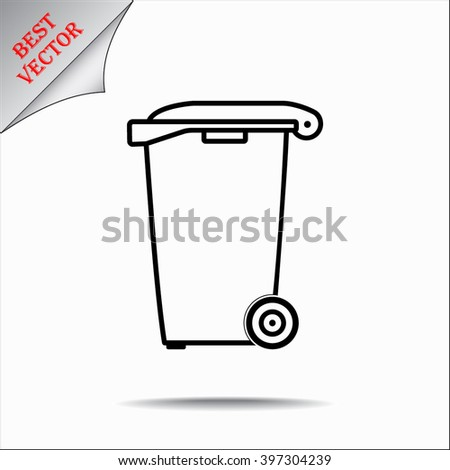 Recycling bin sign icon, vector illustration. Flat design style