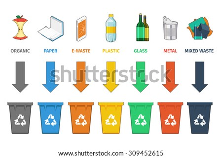 Recycling bins separation. Waste management vector concept. Trash and waste, sign concept garbage, container and can. Vector illustration - stock vector