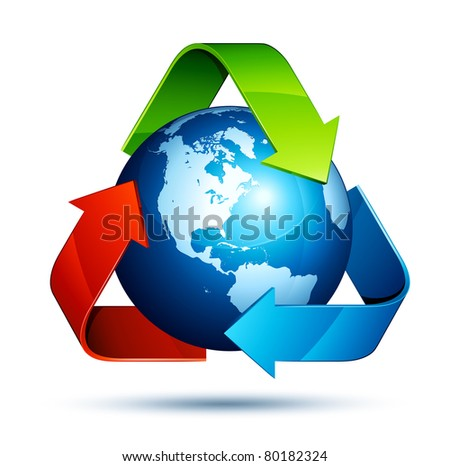 recycling earth - stock vector