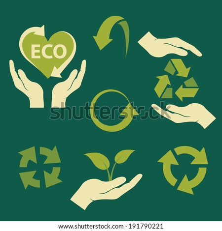 recycling ecological symbols isolated on dark green background. vector illustration  - stock vector