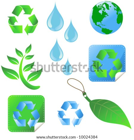 Recycling elements / Global warming. More Sets in my Portfolio - stock vector
