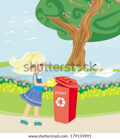 recycling - girl throws paper into red bin - stock vector