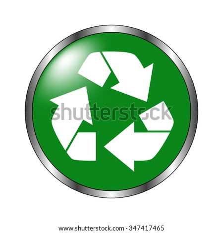 Recycling - green vector icon
