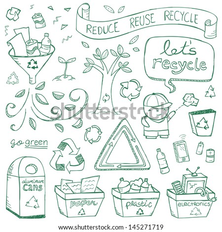 Recycling illustrations drawn in a doodled style. - stock vector