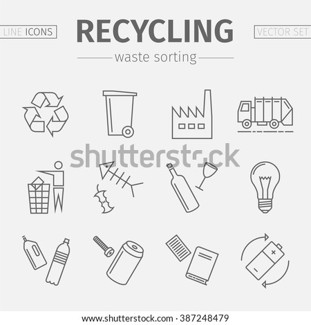 Recycling line icons. Waste sorting set. Vector illustration. - stock vector