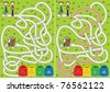 Recycling maze for kids with a solution - stock vector