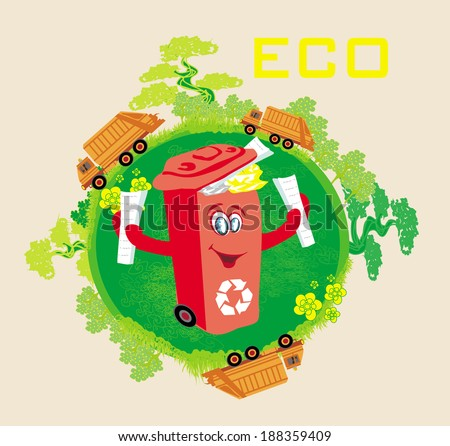 Recycling red bin with papers,  ecology concept with landscape and garbage  - stock vector