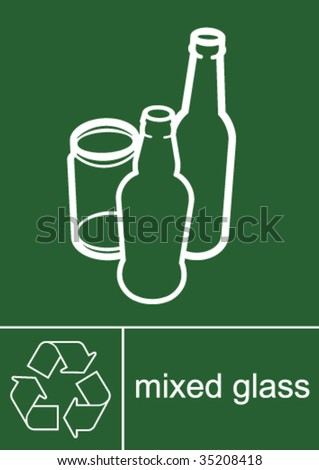 Recycling Sign Glass - stock vector