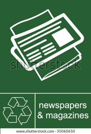Recycling Sign Magazines and Newspapers - stock vector