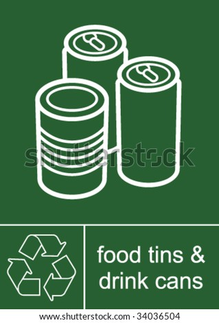 Recycling Sign Tins and Cans - stock vector