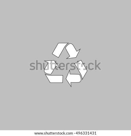 Recycling Simple line vector button. Thin line illustration icon. White outline symbol on grey background