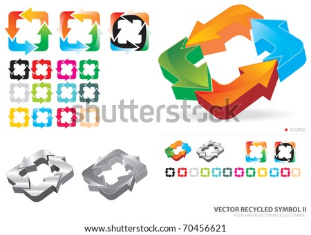 Recycling symbol with four arrows - stock vector