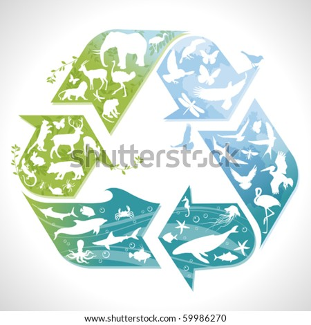 Recycling symbol with silhouettes of earth's animals - stock vector