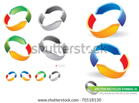 Recycling symbol with two arrows - stock vector