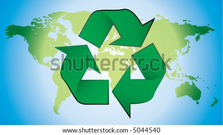 recycling symbol with world map in background - stock vector
