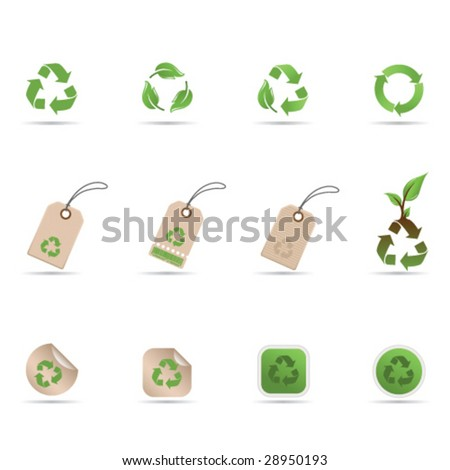 Recycling symbols, tags and stickers - stock vector