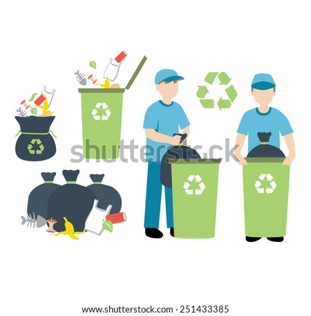 recycling trash - stock vector