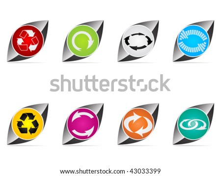 recycling web buttons different colors