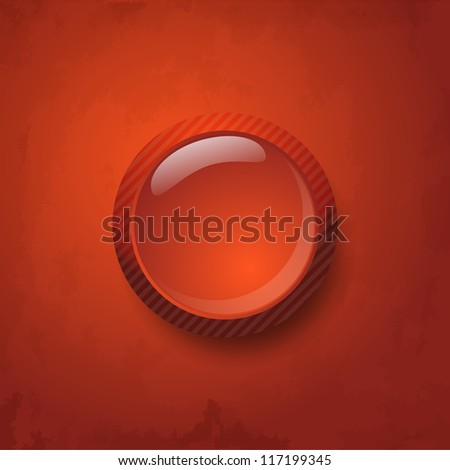 Red a web server button or icon, on a red texture background. - stock vector
