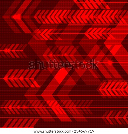 Red abstract arrows background. Vector illustration. - stock vector