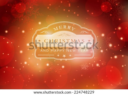 Red abstract background with light effects, blurry light dots and snowflakes. Centered is a label with the lettering Merry Christmas and Happy New Year. - stock vector