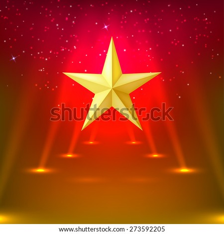 Red abstract background with rays of spotlights and gold star. Vector illustration - stock vector