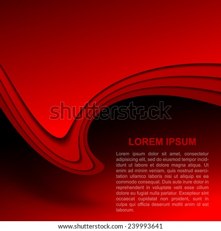 Red abstract background with wavy shapes. Vector illustration - stock vector