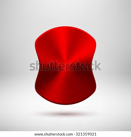 Red abstract badge, blank button template with metal texture (chrome, steel, copper), realistic shadow and light background for web user interfaces, UI, applications and apps. Vector illustration. - stock vector