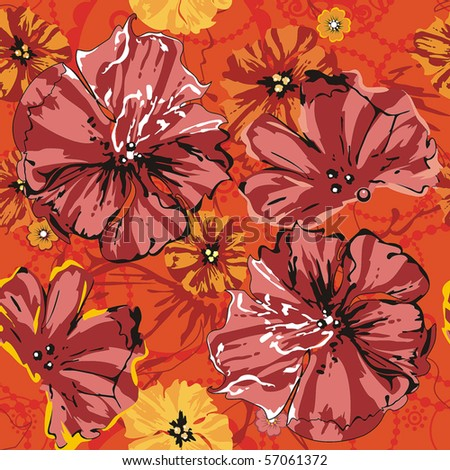 Red Abstract Elegance seamless floral pattern. Beautiful flowers vector illustration texture with poppy. - stock vector