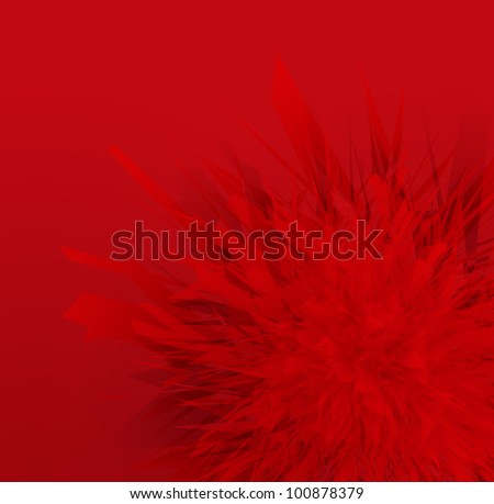 Red abstract flower burst vector background - stock vector