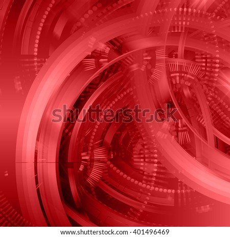 red abstract hi speed internet technology background illustration. eye scan virus computer. gear - stock vector