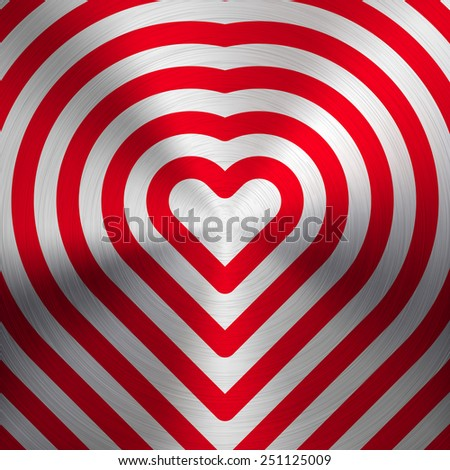 Red abstract pattern with Valentines heart signs and realistic metal texture (chrome, steel, silver) for web, presentations and prints. Vector illustration. - stock vector