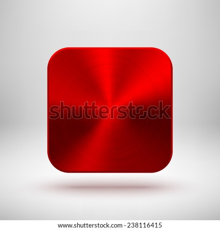 Red abstract technology app icon, blank button template with metal texture (chrome, silver, steel), realistic shadow and light background for web sites, user interfaces, UI and applications, apps. - stock vector
