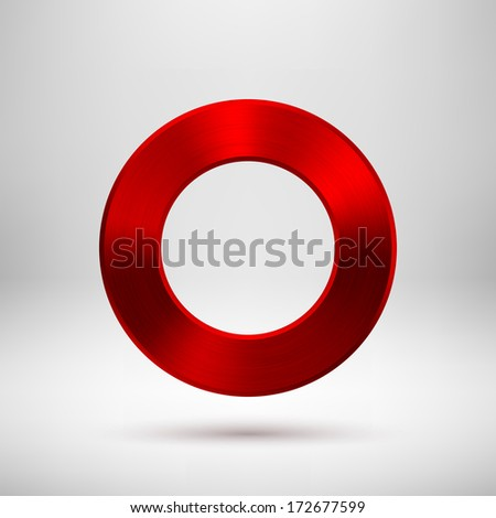 Red abstract technology blank donut button template with metal texture (chrome, steel, silver, copper), realistic shadow and light background for web user interfaces (UI) and applications (apps).