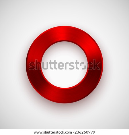 Red abstract technology donut, ring badge, blank button template with metal texture (chrome, silver, steel), realistic shadow and light background for interfaces, UI, applications and apps. Vector.