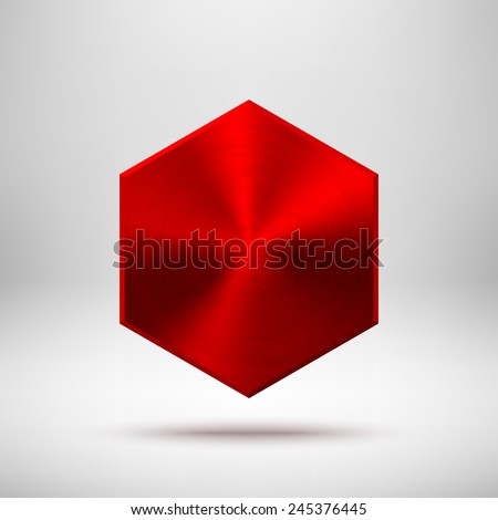 Red abstract technology polygon, hex badge, blank button template with metal texture (chrome, silver, steel), realistic shadow and light background for user interfaces, UI, applications, apps. Vector - stock vector