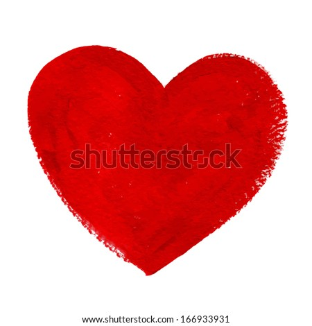 Red acrylic painted vector heart - stock vector