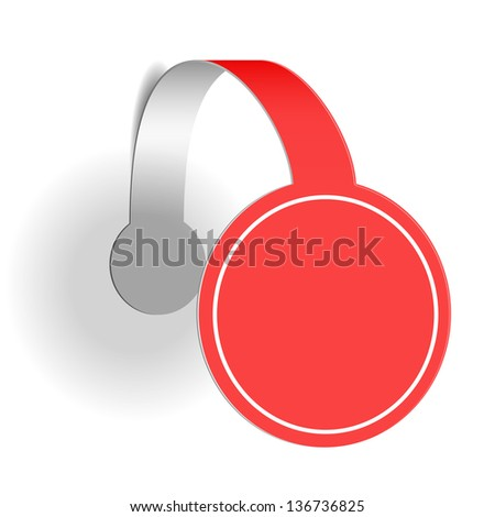 Red advertising wobbler isolated on white background - stock vector