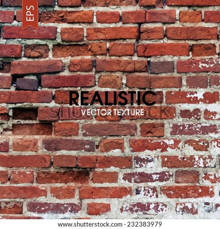 Red aged brick traced texture - stock vector