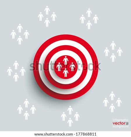 Red aim with people groups on the grey background. Eps 10 vector file. - stock vector