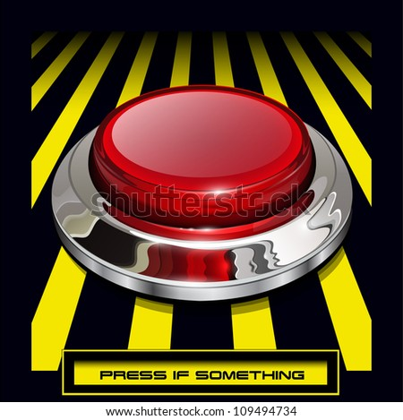 Red alarm chrome shiny button background, vector.