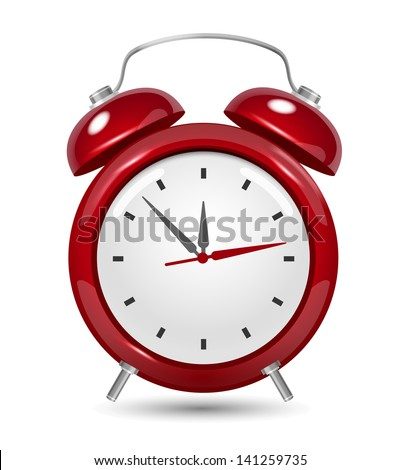 Red alarm clock close up on white - stock vector